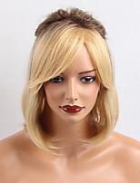 New Natural Straight Comfortable Oblique Bangs Bob Hairstyle Human Hair  Wigs