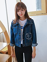 Women's Casual/Daily Vintage Simple Spring Fall Denim Jacket,Solid Shirt Collar Long Sleeve Regular Cotton Polyester Embroidered