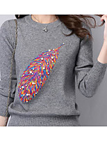 Women's Going out Casual/Daily Simple Regular Pullover,Solid Print Round Neck Long Sleeve Acrylic Spring Fall Medium Micro-elastic