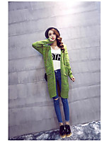 Women's Other Daily Long Cardigan,Solid Cowl Long Sleeve Cotton Winter Medium Micro-elastic