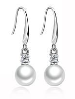 Boucles d'oreille goutte Zircon cubique Original Géométrique Argent sterling Imitation de perle Bijoux PourMariage Soirée Quotidien