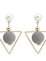 Women's Drop Earrings Imitation Pearl Euramerican Fashion Cooper Geometric Triangle Jewelry For Daily Casual 1 Pair