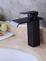 Centerset Waterfall Single Handle One Hole for  Oil-rubbed Bronze , Bathroom Sink Faucet