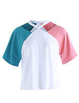 Women's Daily Casual Going out Cute Spring Summer T-shirt,Color Block Notched Short Sleeve Cotton