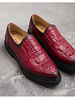 Men's Loafers & Slip-Ons Nappa Leather Cowhide Spring Black Burgundy Flat