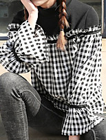 Feminino Camisa Social Casual SimplesQuadriculada Poliéster Colarinho de Camisa Manga Longa