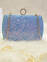 Women Shoulder Bag PU All Seasons Event/Party Party & Evening Date Club Baguette Sequined Clasp Lock Gold Blue