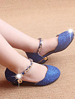 Girls' Flats Comfort Fabric Glitter Spring Fall Outdoor Casual Walking Magic Tape Low Heel Blue Silver Gold Flat