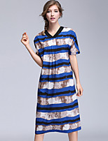 YHSPWomen's Going out Casual/Daily Simple Sophisticated Loose Shift DressStriped Print V Neck Midi Short Sleeve Polyester Summer High Rise