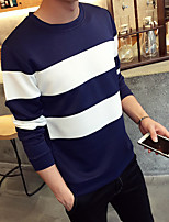 Men's Athletic Daily Casual Sweatshirt Striped Pure Color Stripe Round Neck Micro-elastic Cotton Long Sleeve Spring Summer