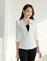 Women's Casual/Daily Simple Spring Blazer,Solid Notch Lapel Long Sleeve Regular Rayon