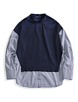 Men's Daily Sweatshirt Solid Striped Round Neck Inelastic Cotton Long Sleeve Spring Fall