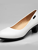 Women's Heels Formal Shoes Leather Spring Fall Office & Career Chunky Heel Black White 3in-3 3/4in