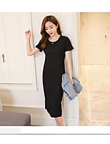 Women's Casual/Daily Simple T-shirt Dress Suits,Solid Round Neck Short Sleeve Micro-elastic