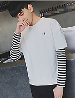 Men's Casual/Daily Sweatshirt Solid Striped Round Neck Micro-elastic Cotton Long Sleeve Spring Summer