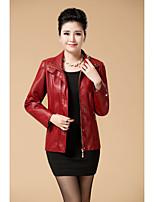 Для женщин Кожаные куртки V-образный вырез Длинный рукавМеховая оторочка