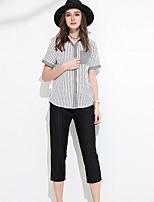 Chemise Pantalon Costumes Femme,Couleur Pleine Rayé Bureau/Carrière simple Eté Manches Courtes Col en V strenchy