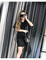 Women's Casual/Daily Simple Summer T-shirt Skirt Suits,Solid V Neck Sleeveless Micro-elastic