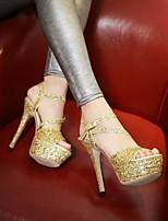 Damen High Heels Komfort PU Sommer Normal Komfort Flacher Absatz Gold Schwarz Silber Flach
