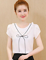 Women's Going out Cute Blouse,Solid Round Neck Short Sleeve Others