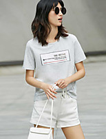 AMIIWomen's Casual/Daily Simple T-shirtStriped Round Neck Short Sleeve Cotton
