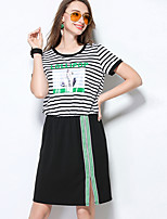 MEIDONGTAI Women's Casual/Daily Swing DressSolid Round Neck Above Knee Short Sleeve Acrylic Summer Low Rise Inelastic Medium