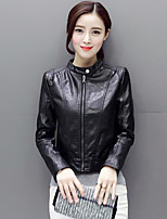 Women's Daily Simple Fall Leather Jacket,Solid Round Neck Long Sleeve Short PU