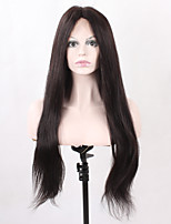 Natural Long Straight Natural Black Synthetic Hair for Women Heat Resistant Glueless Half Hand Tied Fiber Lace Front Wigs