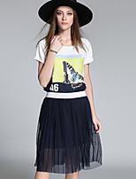 Mujer Sencillo Casual/Diario Verano T-Shirt Falda Trajes,Escote Redondo Un Color Manga Corta