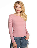Lztlylzt Women's Daily Casual Simple Spring Summer T-shirtSolid Round Neck Long Sleeve Cotton Polyester