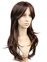 Long Wavy Wigs 18inch Black Mix Brown Costume Party Women Wig High Temperature Fiber Synthetic Hair Wig.