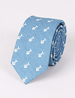 Men's Casual Fashion Personality Denim Fish Bone Printed Tie