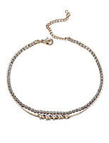 Lureme Sexy Anklets for Women Crystal Rhinestone Tennis Ankle Double Chain Foot Bracelet