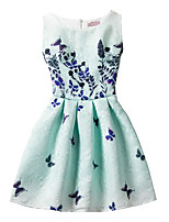 Girl's Cotton Fashion And Lovely   Green Small Butterfly   A-line Collect Waist Vest Printing Princess Dress