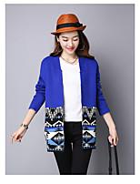 Women's Casual/Daily Simple Regular Cardigan,Print V Neck Long Sleeve Acrylic Fall Winter Medium Micro-elastic