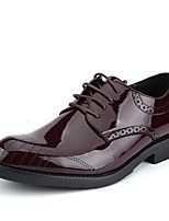 Men's Oxfords Formal Shoes Comfort Bullock shoes PU Spring Summer Outdoor Office & Career Casual Lace-up Flat Heel Burgundy Black Flat