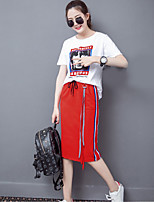 Women's Going out Casual/Daily Modern/Comtemporary Summer T-shirt Skirt Suits,Print Round Neck Short Sleeve