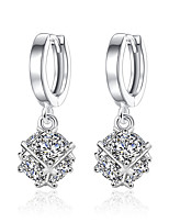 Drop Earrings Opal Unique Design Square Sterling Silver Cubic Zirconia Jewelry For Wedding Party Daily Casual 1 pair