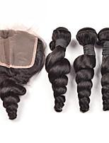4Pcs/lot 300g Brazilian Virgin Hair Loose Wave Hair Weft With 1Pcs 40g  Lace Closure Free Part Raw Human Hair Weaves