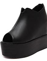 Women's Sandals PU Summer Zipper Wedge Heel Black 4in-4 3/4in