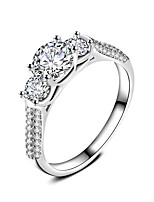 Engagement Ring AAA Cubic Zirconia Fashion  Elegant Silver Plated Circle Jewelry For Wedding Party Gift