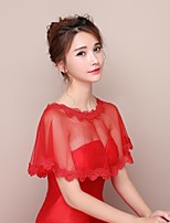 Women's Wrap Capelets Lace Tulle Wedding Party/Evening Appliques Lace