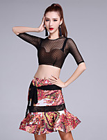 Latin Dance Outfits Women's Performance Ice Silk Pattern/Print Lace 2 Pieces Half Sleeve Natural Tops / Skirts