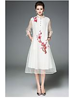 Gaine Robe Femme QuotidienBroderie Mao Midi Manche 3/4 Polyester Eté Taille Haute Micro-élastique Fin