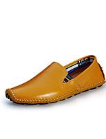 Herren Loafers & Slip-Ons Leder Frühling Sommer Normal Walking Flacher Absatz Schwarz Beige Gelb Braun Blau Flach