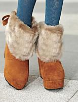 Для женщин Ботинки Полиуретан Осень Зима Черный Красный Верблюжий На плоской подошве