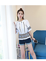 Women's Casual/Daily Simple Spring Summer T-shirt,Print Round Neck Short Sleeve Cotton Opaque