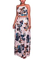 Women's Going out Beach Holiday Sexy Vintage Boho Spring Summer Bare Midriff SwingTank Top Skirt SuitsFloral Halter Sleeveless Backless strenchy