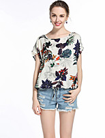 Women's Going out Casual/Daily Simple Summer Blouse,Print Round Neck Short Sleeve Polyester Medium