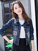 Women's Going out Active Spring Denim Jacket,Letter Stand Long Sleeve Short Cotton